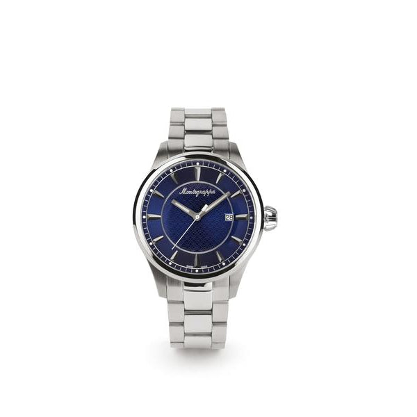 Fortuna Three-Hands Watch, Steel, Blue Dial, Steel Bracelet