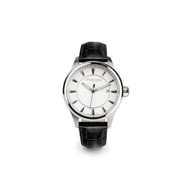 Fortuna Three Hands Watch - Black Leather Strap & Stainless Steel