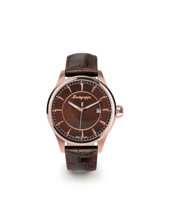 Fortuna Three Hands Watch - Rose Gold & Brown Leather Strap