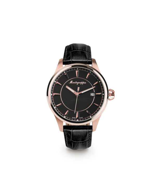 Fortuna Three-Hands Watch, Rose Gold PVD, Black Dial, Black Leather Strap