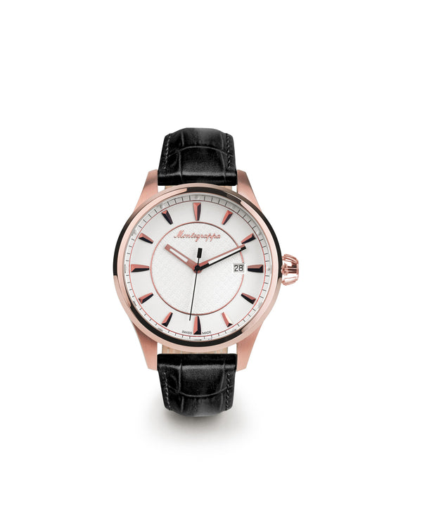 Fortuna Three-Hands Watch, Rose Gold PVD, Silver Dial, Black Leather Strap