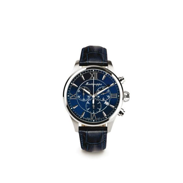 Fortuna Chronograph, Steel, Blue Dial, Blue Leather Strap