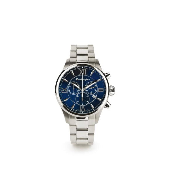 Fortuna Chronograph Watch - Stainless Steel & Blue Dial