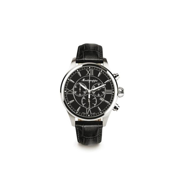 Fortuna Chronograph, Steel, Black Dial, Black Leather Strap