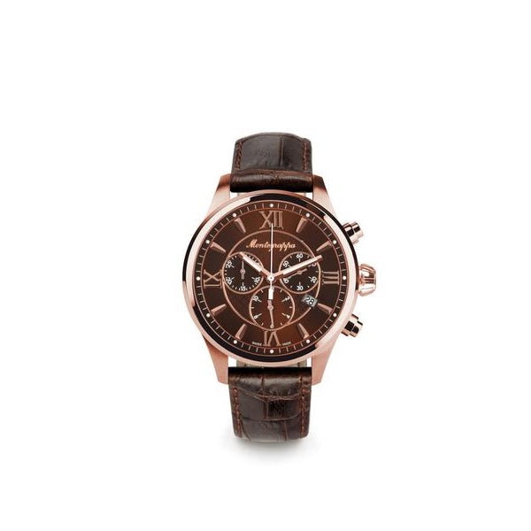 Fortuna Chronograph, Rose Gold PVD, Brown Dial, Brown Leather Strap