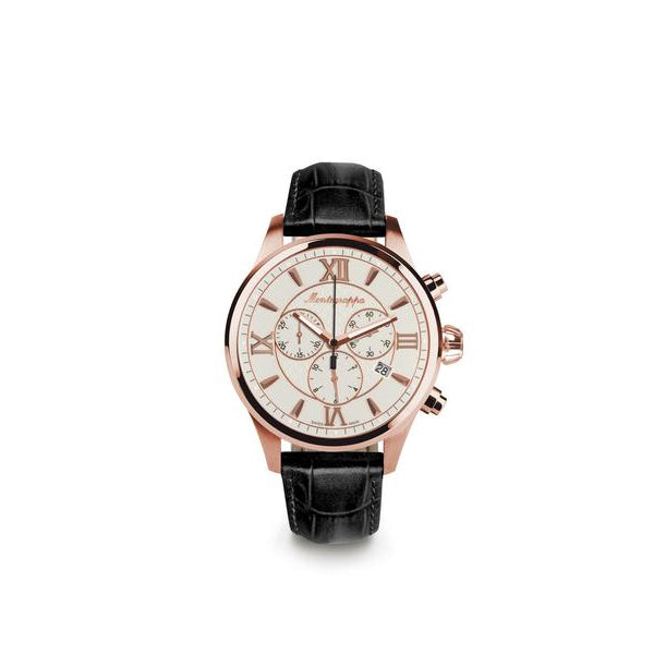 Fortuna Chronograph, Rose Gold PVD, Silver Dial, Black Leather Strap