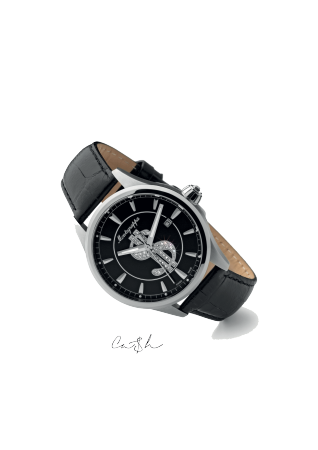 Ca$h Watch, Steel, Black Dial, Black Leather Strap