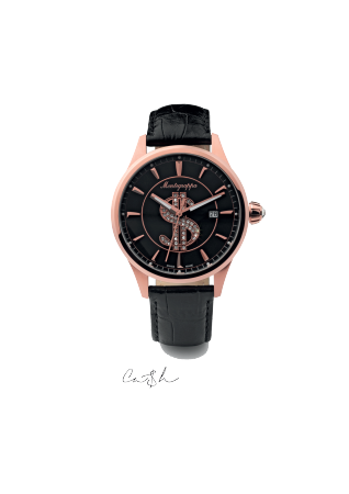 Ca$h Watch, Rose Gold PVD, Black Dial, Black Leather Strap