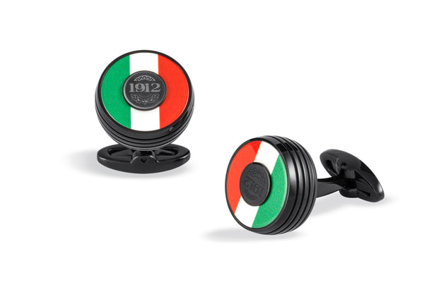 Tricolore Cufflinks, Black PVD, Italian Flag Inlay