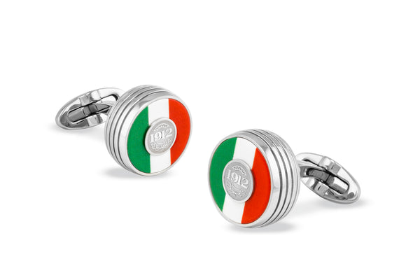 Tricolore Cufflinks, Steel, Italian Flag Inlay