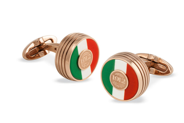 Tricolore Cufflinks, Rose Gold PVD, Italian Flag Inlay