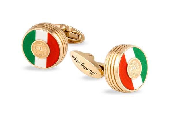Tricolore Cufflinks, Yellow Gold PVD, Italian Flag Inlay