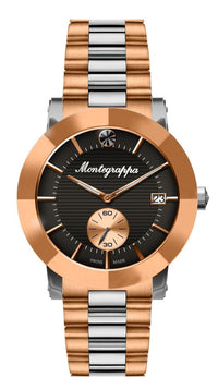 Nerouno Lady Watch, Rose Gold PVD/Steel Case & Bracelet, Black Dial