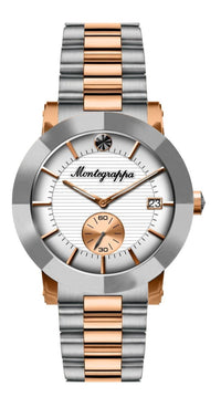 Nerouno Lady Watch, Steel/Rose Gold PVD Case & Bracelet, White Dial