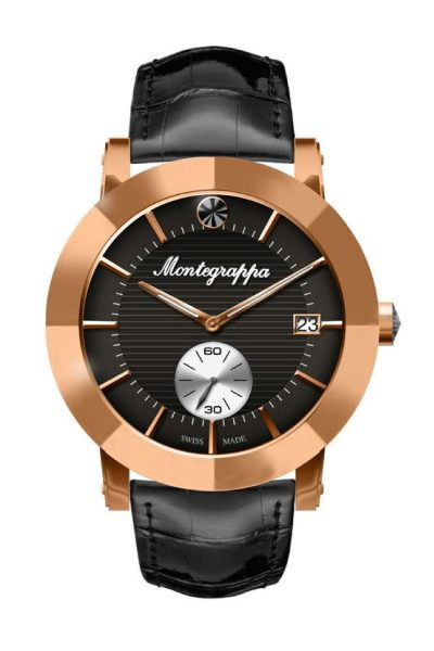 Nerouno Lady Watch, Rose Gold PVD Case, Black Leather Strap, Black Dial