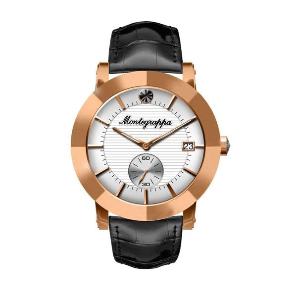 Nerouno Lady Watch, Rose Gold PVD Case, Black Leather Strap, White Dial