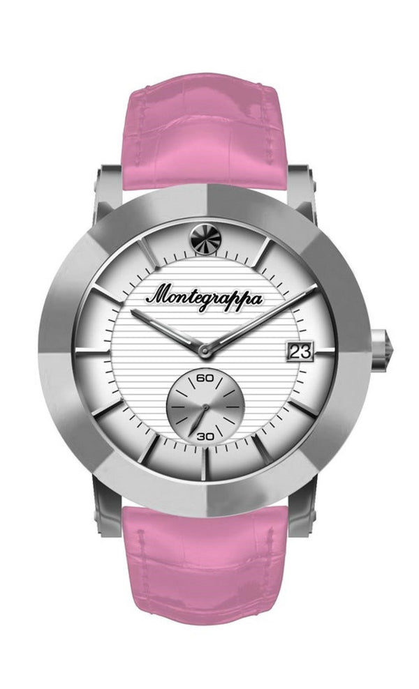 Nerouno Lady Watch, Steel Case, Pink Leather Strap, White Dial
