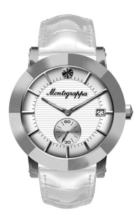Nerouno Lady Watch, Steel Case, White Leather Strap, White Dial