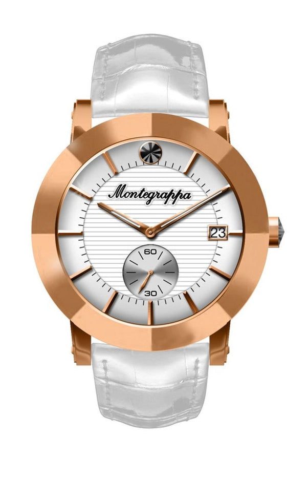 Nerouno Lady Watch, Rose Gold PVD Case, White Leather Strap, White Dial