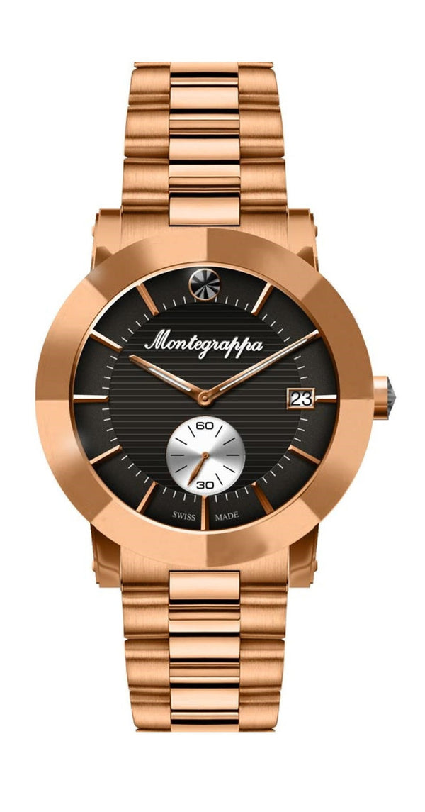 Nerouno Lady Watch, Rose Gold PVD Case & Bracelet, Black Dial