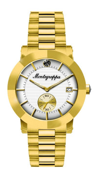 Nerouno Lady Watch, Yellow Gold PVD Case & Bracelet, White Dial