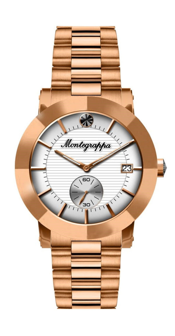 Nerouno Lady Watch, Rose Gold PVD Case & Bracelet, White Dial