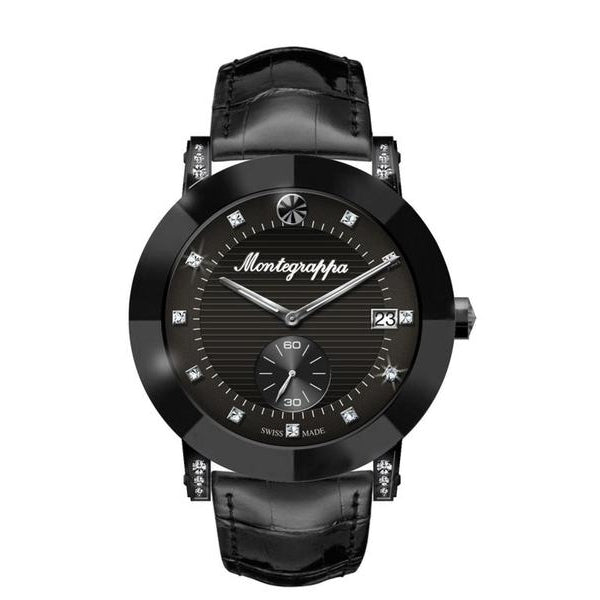 Nerouno Lady Watch, Black PVD Case, Black Leather Strap, Black Dial with Diamonds