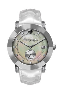 Nerouno Lady Watch, Steel Case, White Leather Strap, Natural MOP Dial with Diamonds