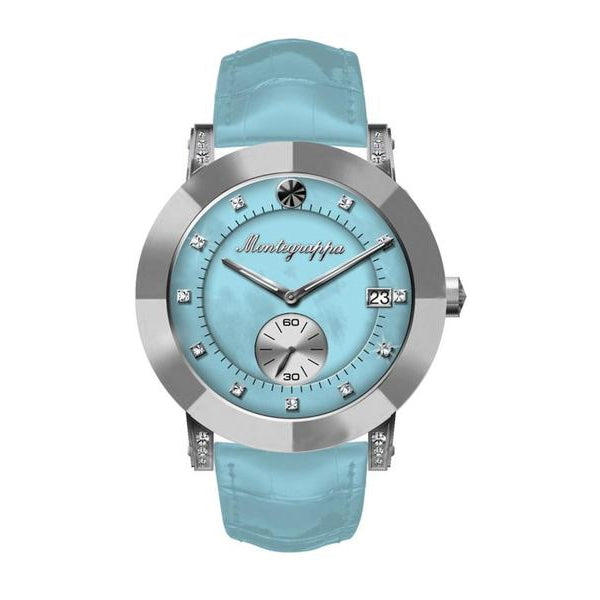 NeroUno Lady - Silver Case, Light Blue Croco Strap, Light Blue Mother of Pearl Dial, Silver Logo