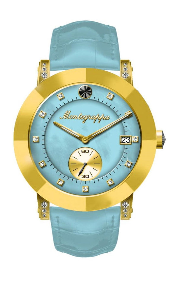 NeroUno Lady - Yellow Gold PVD Case, Light Blue Croco Strap, MOP dial, with Diamonds