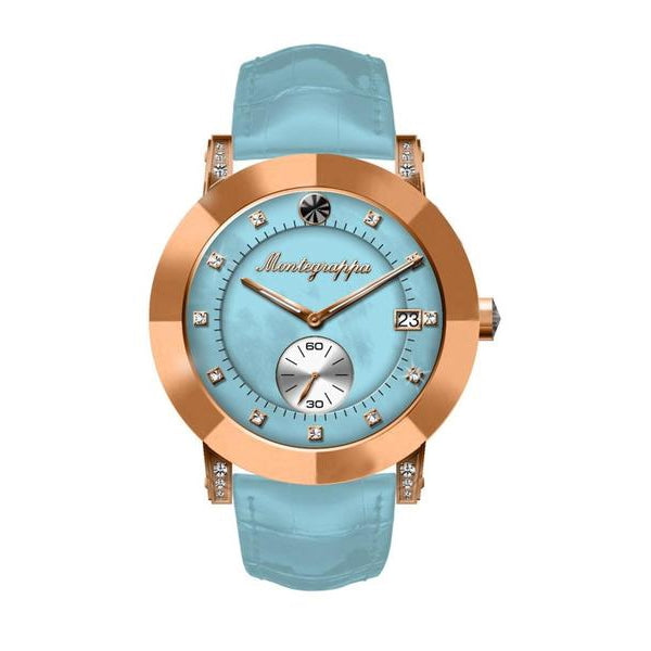 Nerouno Lady Watch, Rose Gold PVD Case, L. Blue Leather Strap, L. Blue MOP Dial with Diamonds