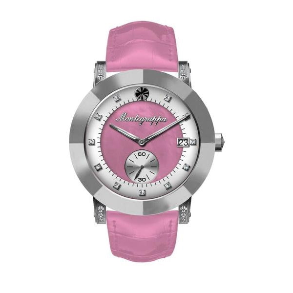 NeroUno Lady - Silver Case, Croco Strap, White & Pink MOP Dial, with Diamonds