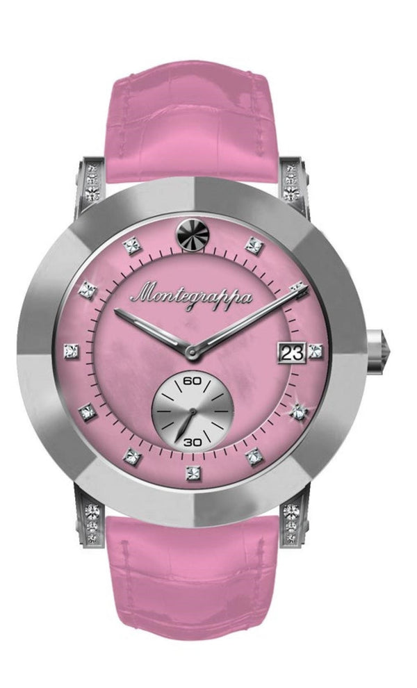 NeroUno Lady - Silver Case, Pink Croco Strap, MOP Dial, with Diamonds