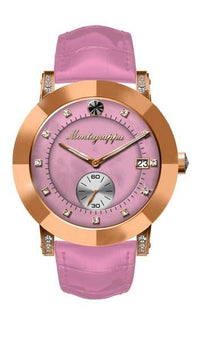 Nerouno Lady Watch, Rose Gold PVD Case, Pink Leather Strap, Pink MOP Dial  with Diamonds
