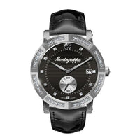 Nerouno Lady Watch, Steel Case w/D., Black Leather Strap, Black Dial with Diamonds