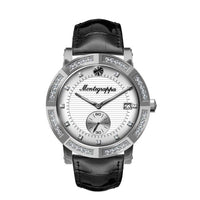 Nerouno Lady Watch, Steel Case w/D., Black Leather Strap, White Dial with Diamonds