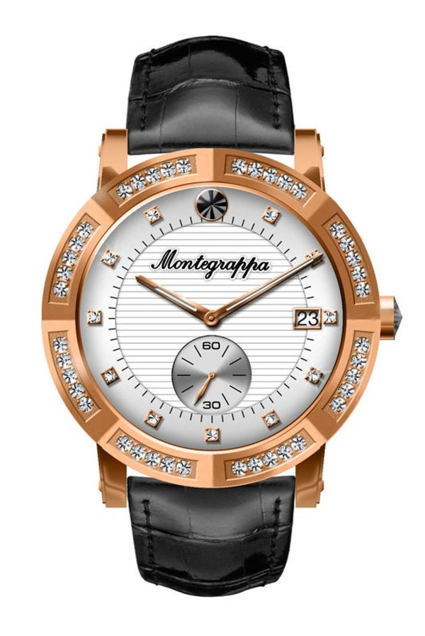 Nerouno Lady Watch, Rose Gold PVD Case with Diamonds., Black Leather Strap, White Dial with Diamonds.