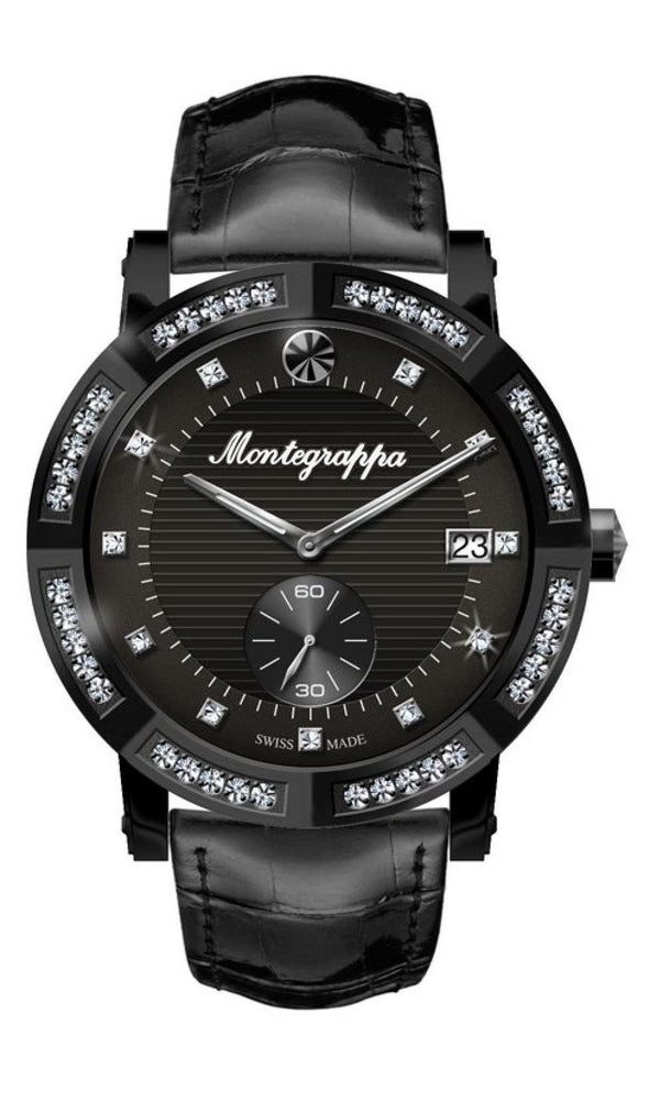 Nerouno Lady Watch, Black PVD Case with Diamonds, Black Leather Strap, Black Dial with Diamonds