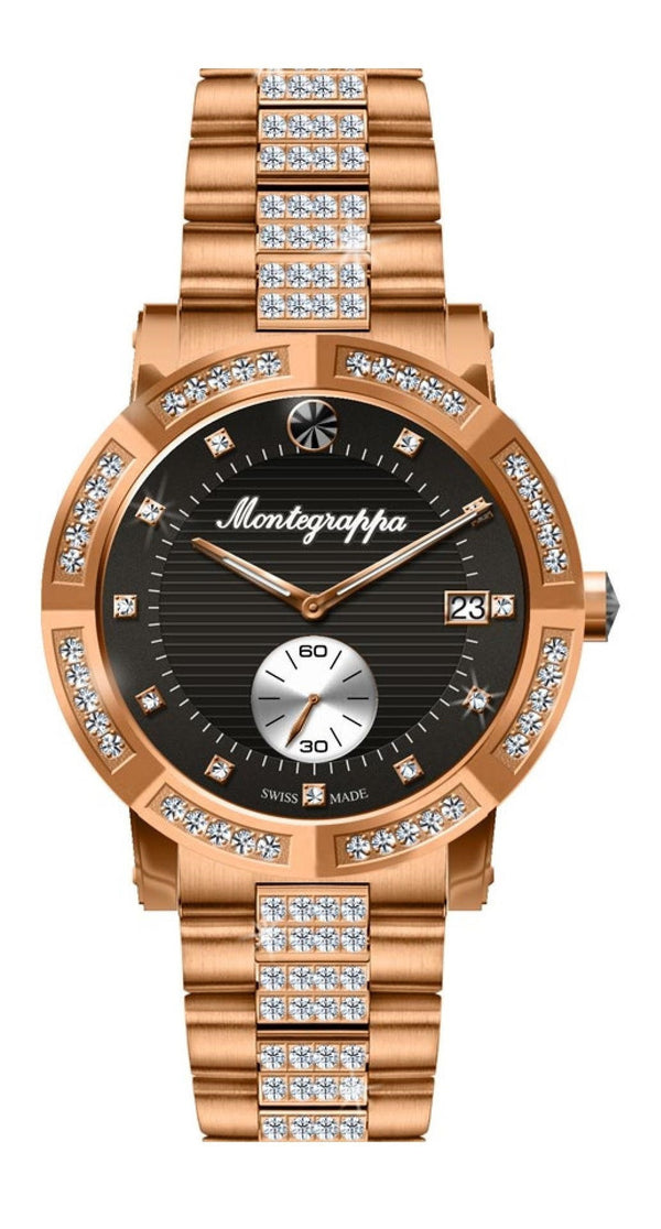 Nerouno Lady Watch, Rose Gold PVD Case with Diamonds, Steel Bracelet w/D., Black Dial with Diamonds