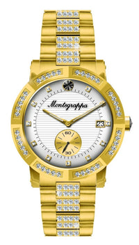 Nerouno Lady Watch, Yellow Gold PVD Case with Diamonds, Steel Bracelet with Diamonds, White Dial with Diamonds