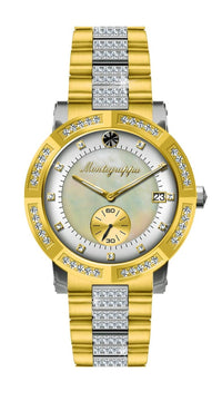 Nerouno Lady Watch, Yellow Gold PVD Case & Bracelet with Diamonds, Natural MOP/White Dial with Diamonds