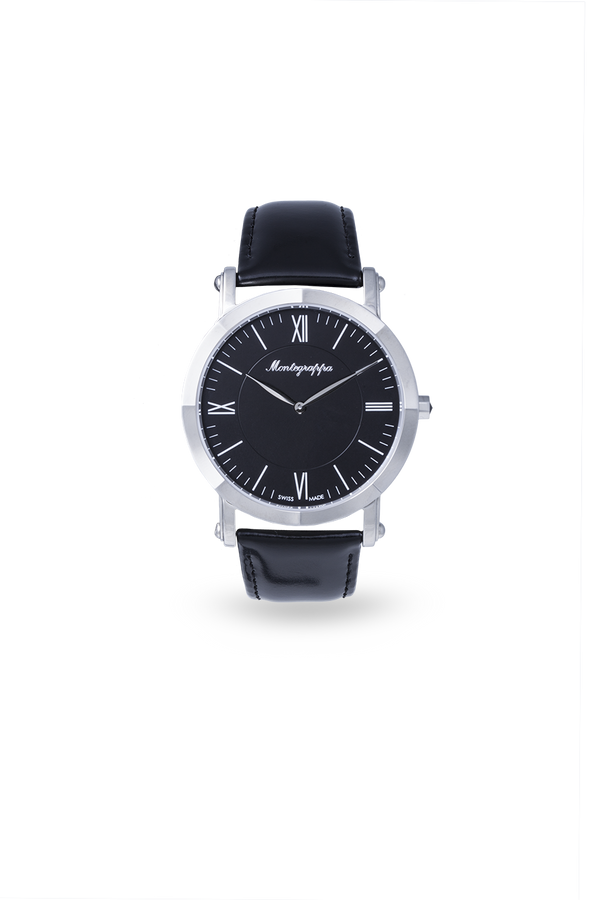 NeroUno Slim - Steel, Black Dial, with Black Leather Strap