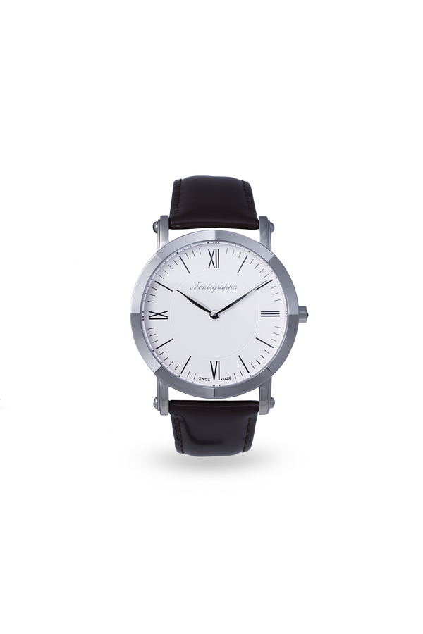 NeroUno Slim - Steel, White Dial, with Black Leather Strap