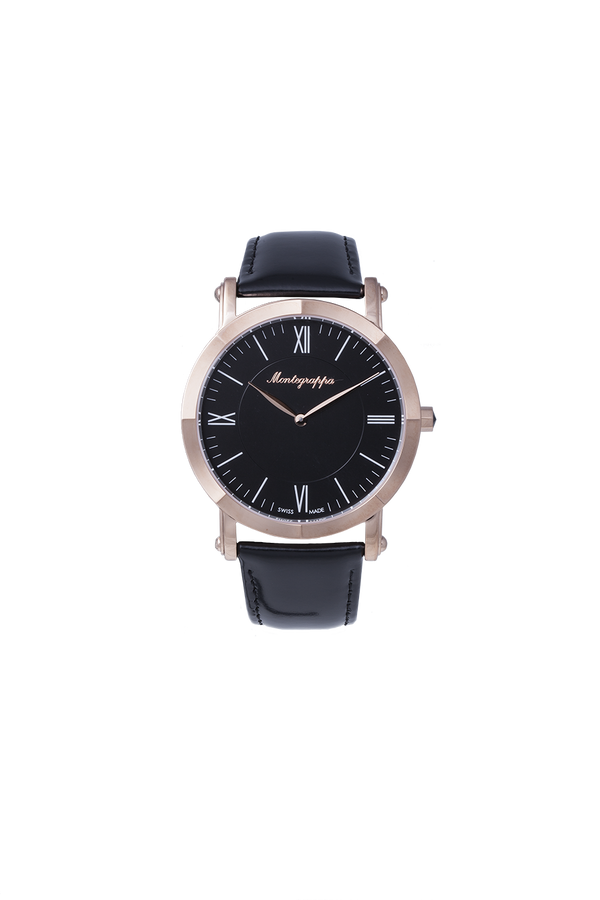 NeroUno Slim - Rose Gold PVD, Black Dial, with Brown Leather Strap