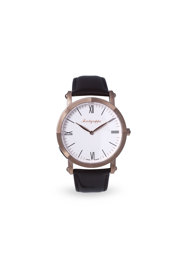 NeroUno Slim - Rose Gold PVD, White Dial, with Brown Leather Strap
