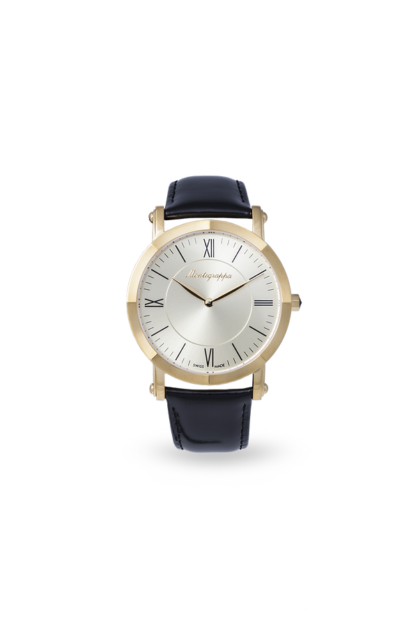 NeroUno Slim - Yellow Gold PVD, Champagne Dial, with Black Leather Strap