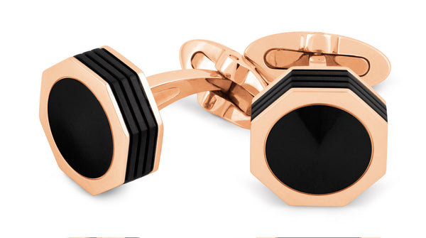 Nerouno Linea Cufflinks - Rose Gold PVD, Onyx inlay