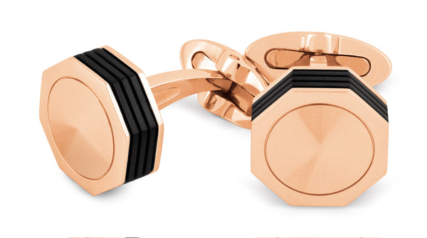 Nerouno Linea Cufflinks - Rose Gold PVD, Metal Inlay