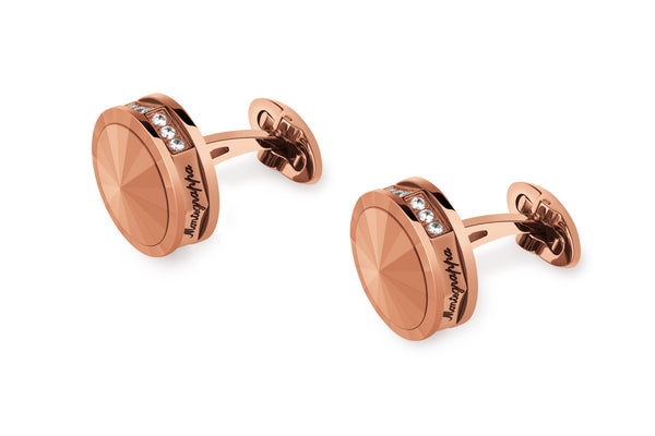 Nerouno Cufflinks - Rose Gold with Rim Embellisment and Matching Metal Inlay