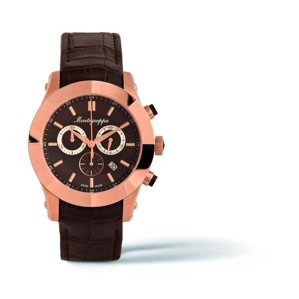 NeroUno Chronograph, Rose Gold PVD, Brown Dial, Brown Leather Strap